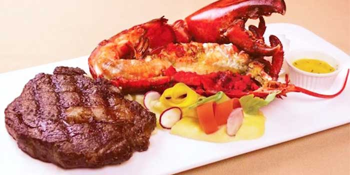 Steak and Lobster from Moon's Steakhouse in Jing