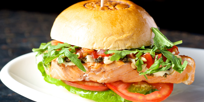 Burger Salmon of Fat Cow located on Yanping Lu,Jing