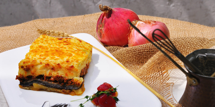 Moussaka of Greek Taverna Milos located on Laowaijia, Minhang District, Shanghai, China