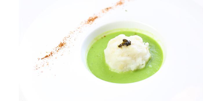 Steamed silver cod fish ball with caviar in green soya beam sauce of Whampoa Club lotaced on Zhongshan Dong Yi Lu, Huangpu District, Shanghai, China