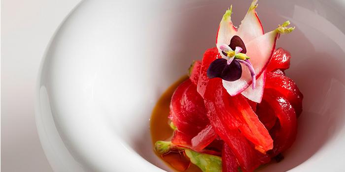 Yellowfin-Tuna-Ribbons,-Avocado,-Spicy-Radish-and-Ginger-Marinade of Jean Georges located on Zhongshan Dong Yi Lu, Huangpu District, Shanghai, China