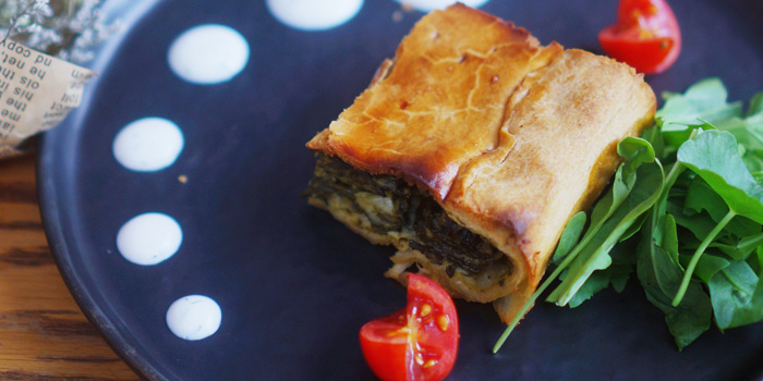Spinach Pie of Greek Taverna Milos located on Laowaijia, Minhang District, Shanghai, China