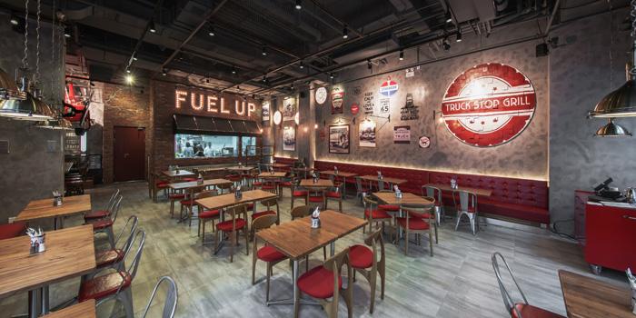 Indoor of Truck Stop Grill located on Ruihong Lu, Hongkou District, Shanghai, China