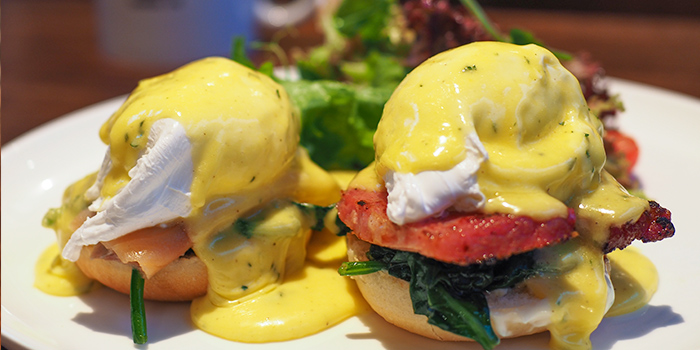 Eggs Benedict from The Caxton located in Jing