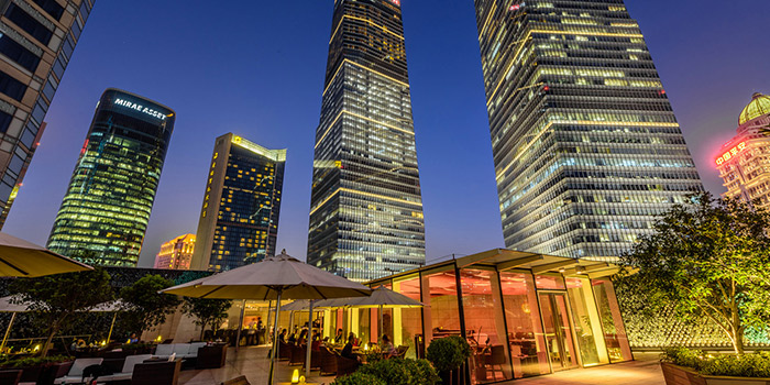 Terrace of Takumi Robatayaki & Sake Bar (IFC) located on Century Avenue, Pudong, Shanghai