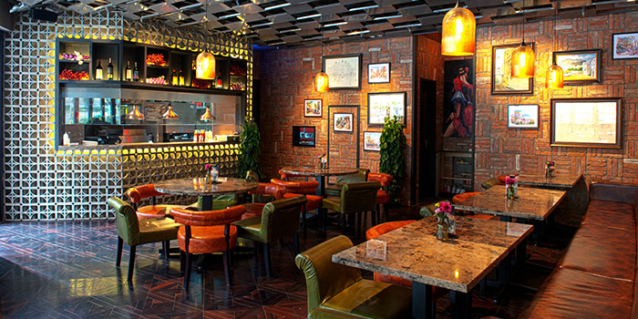 Interior of Brownstone Tapas & lounge located on Yongjia Lu