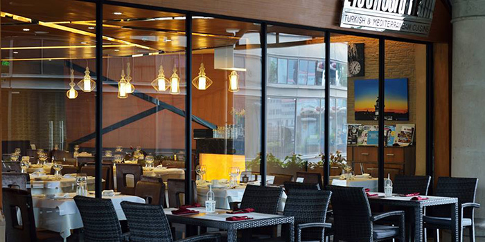 Outdoor Seating Area of Efes Restaurant Turkish & Mediterranean Cuisine located in Lujiazui, Pudong District, Shanghai, China