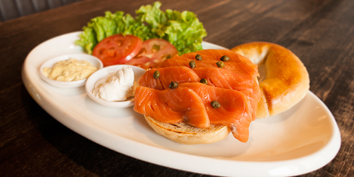 Smoked Salmon Bagel from Tocks A Montreal Deli located in Huangpu, Shanghai