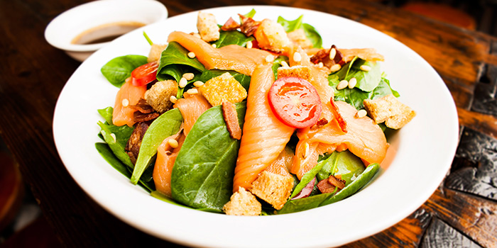 Spinach and Salmon Salad from Tocks A Montreal Deli located in Huangpu, Shanghai