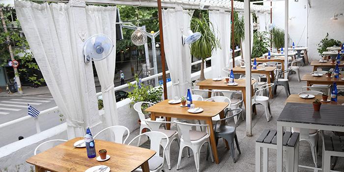 Outdoor of Greek Taverna Milos located on Yueyang Lu, Xuhui District, Shanghai