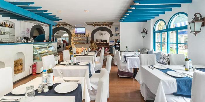 Indoor of Greek Taverna Milos located on Yueyang Lu, Xuhui District, Shanghai