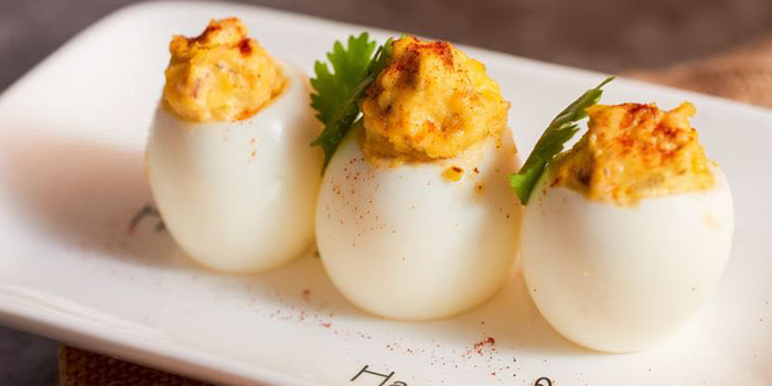 Devilled Eggs from Heat French Rotisserie & Bistro located in Jing