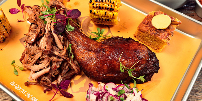 Mains from The Blind Pig Bourbon and Smokehouse located in Jing