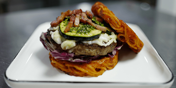 Spaghetti Burger from Oh My Burger located in Xuhui, Shanghai