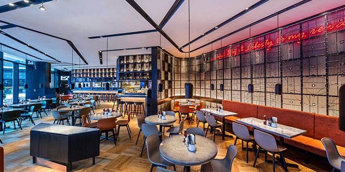 Indoors of Beef & Liberty (Kerry Parkside) located in Pudong, Shanghai