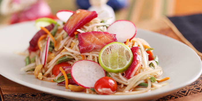 Salmon salad from Patara Fine Thai Cuisine restaurant in Dongcheng District, beijing