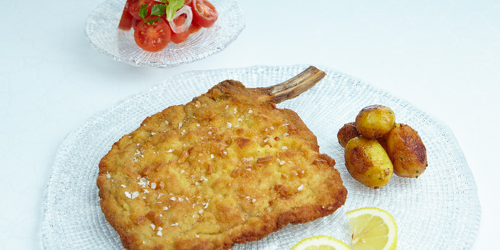 Breaded-&-Fried-Dutch-Milk-fed-Veal-Chop from 8 1/2 Otto e Mezzo Bombana located on the Bund, Shanghai