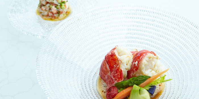 Poached-Normandy-Blue-Lobster from 8 1/2 Otto e Mezzo Bombana located on the Bund, Shanghai