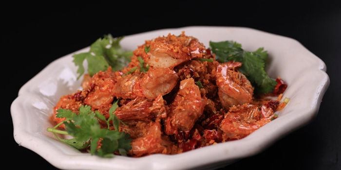 Spicy fried shrimp of Di Shui Dong located on Maoming Lu