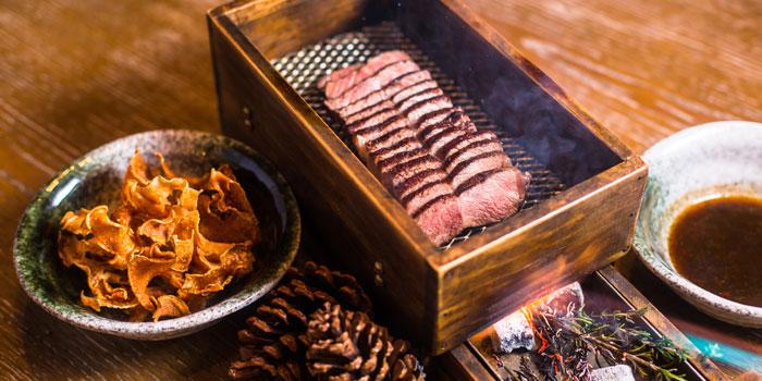 Australian M9 Wagyu beed in Rosemary smoke of Sabor Shanghai by Diego Guerrero located on Sichuan Zhong Lu, Shanghai