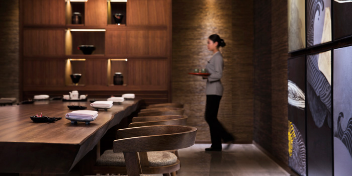 Indoor of Sakiton Grill & Sushi located at Shanghai Marriott Hotel on Daduhe Lu, Putuo, Shanghai