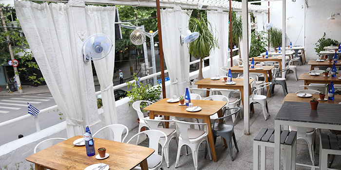 Outdoor of Greek Taverna Milos located on Yueyang Lu, Xuhui District, Shanghai