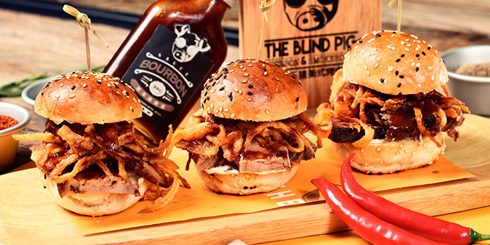 Sliders from The Blind Pig Bourbon and Smokehouse located in Jing