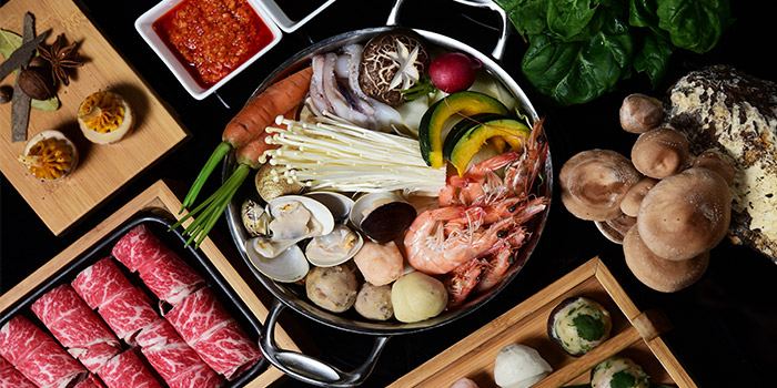 Dishes of Qimin Organic Hotpot Marketplace (Takashimaya)​ located in Changning, Shanghai