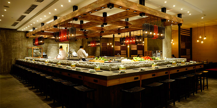 Indoors of Qimin Organic Hotpot Marketplace (Takashimaya)​ located in Changning, Shanghai
