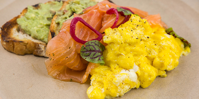 House Marinated Salmon and Scrambled Eggs from Calix located on Taicang Lu, Luwan District, Shanghai