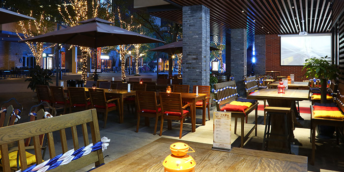 Outdoor-seating of Himmelbush located in Minhang district, Shanghai