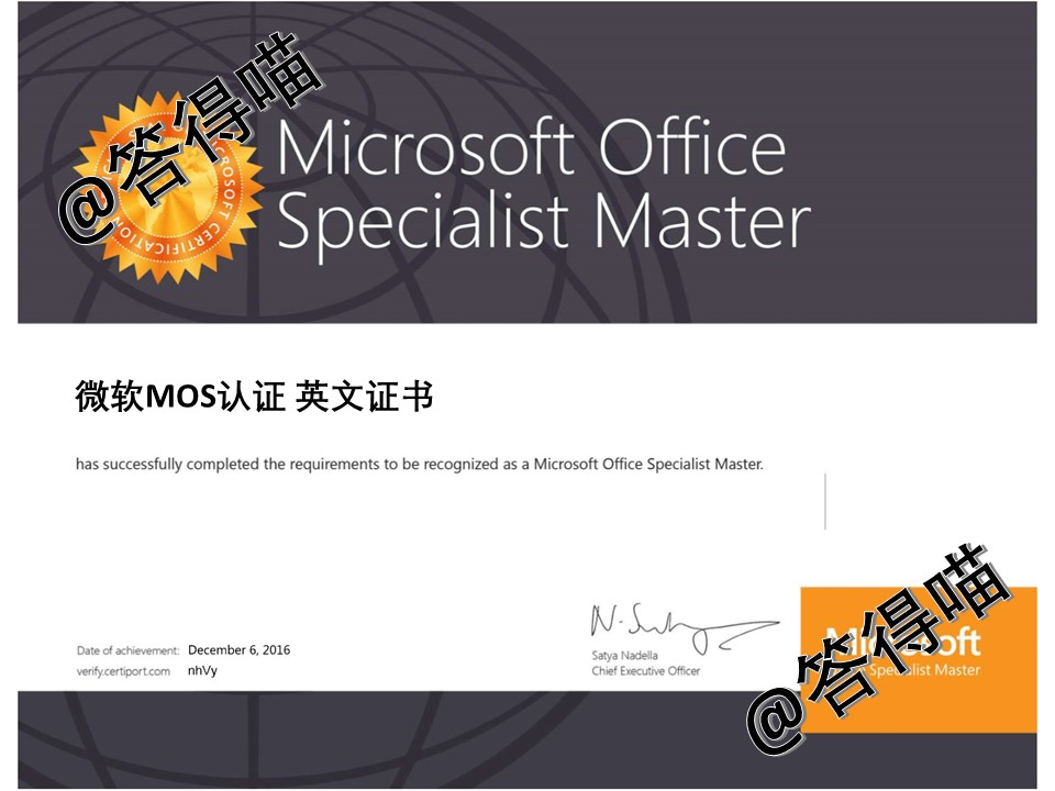 微软办公软件国际MOS认证考试中文证书