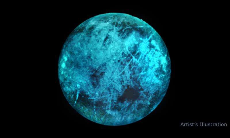 木星的月亮欧罗巴的插图说明了冰冷的表面如何在其夜侧发光.png
