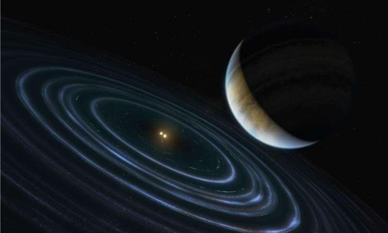 这颗11颗质量高的木星系外行星被称为HD 106906b,它绕着336光年远的双星占据了一个不太可能的轨道.png