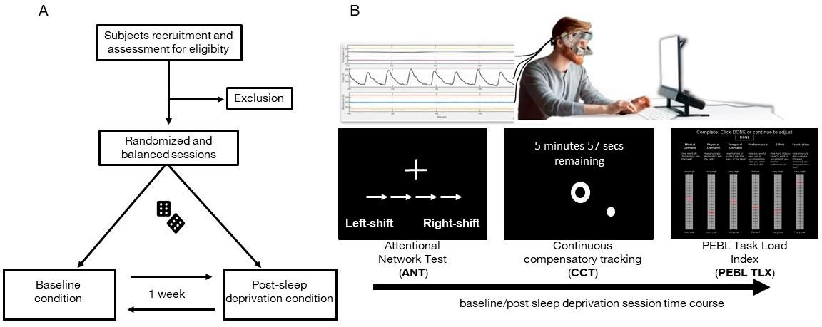 实验方案。 (一种)。实验方案流程图。 (B)。上图是当对象正坐在电脑前时通过PERFORM系统在线记录面部温度,头部运动和心搏的示意图;下面是基线和睡眠剥夺条件下实验时间表的示意图。.png