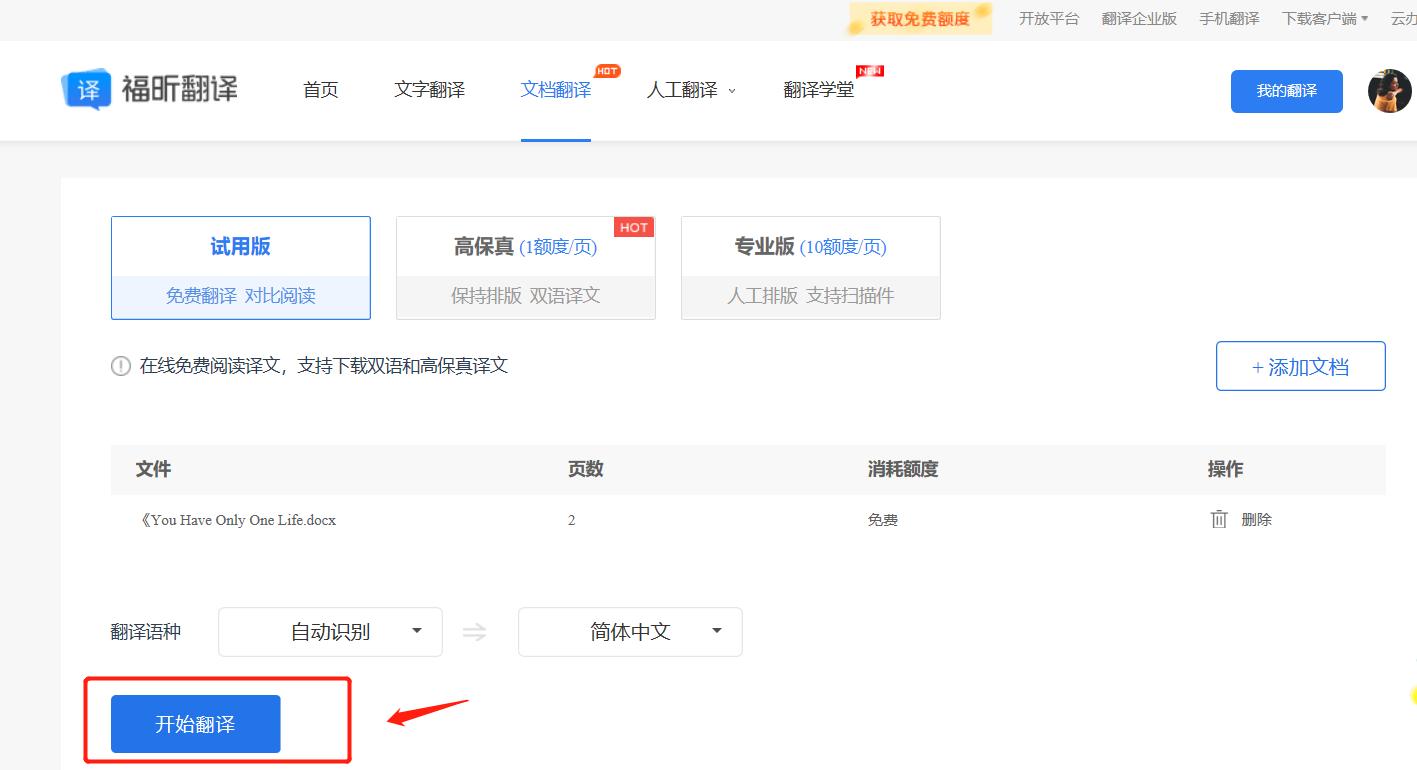 上次文档免费翻译.png