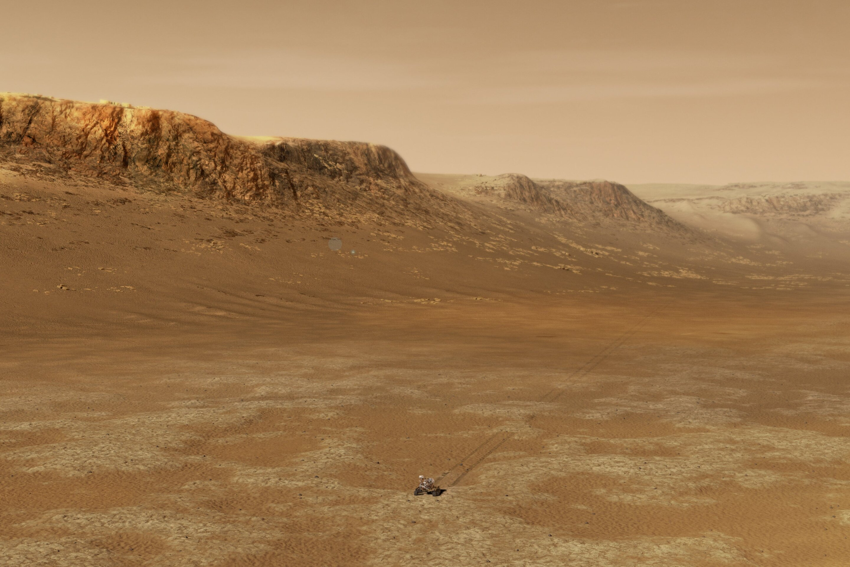 NASA恒心漫游车在火星Jezero陨石坑内工作的插图.jpg