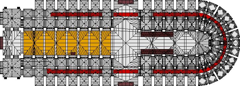 突出显示座位位置(黄色)和增加的地毯流道(红色)的计算机模型.png