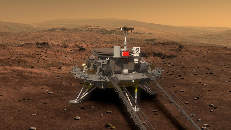 中国的火星探测器竹荣号尚未从着陆器上起飞并开始探索.jpg