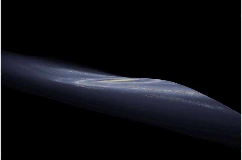 银河系的图形表示,显示其弯曲的外边缘.png