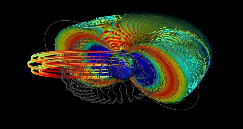 颜色轮廓显示了辐射带的强度。灰线显示了辐射带中相对论电子的轨迹。同心圆线表示科学卫星在太空中穿越这一危险区域的轨迹。.png